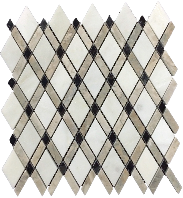 WHITE ABSOLUTE LATTICE WITH TEMPLE GREY MOSAIC