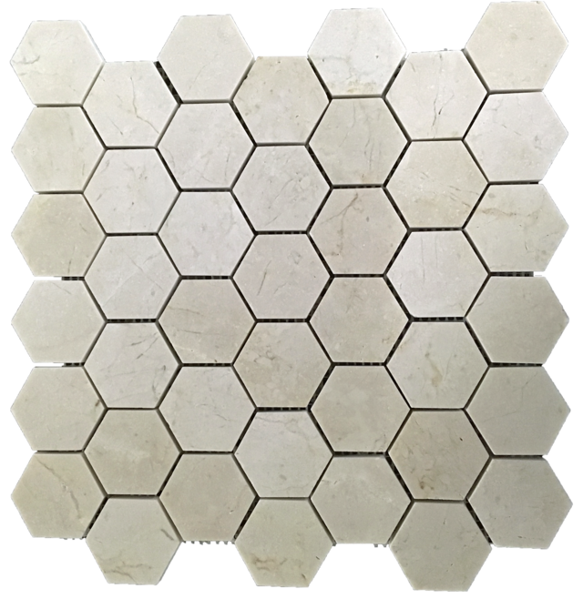"CREMA MARFIL 2"" HEXAGON MOSAIC HONED"