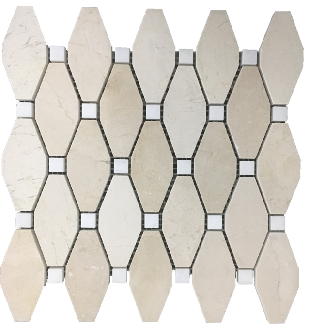 "CREMA MARFIL RHOMBOID WITH 5/8"" WHITE ABSOLUTE DOT MOSAIC HONED"