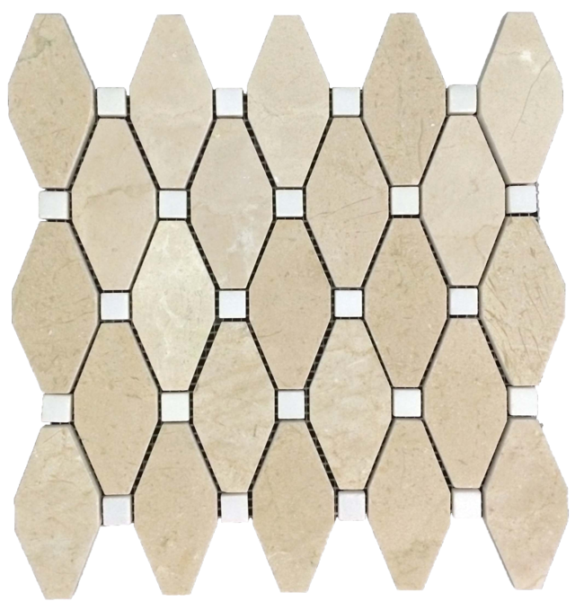 "CREMA MARFIL RHOMBOID WITH 5/8"" WHITE ABSOLUTE DOT MOSAIC POLISHED"