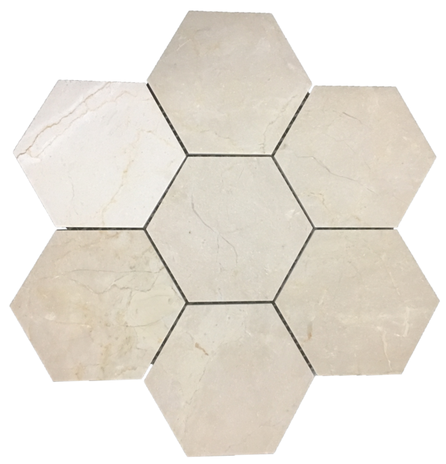 "CREMA MARFIL 5"" HEXAGON MOSAIC HONED"