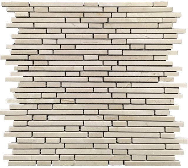 CREMA MARFIL MINI RANDOM STRIP MOSAIC