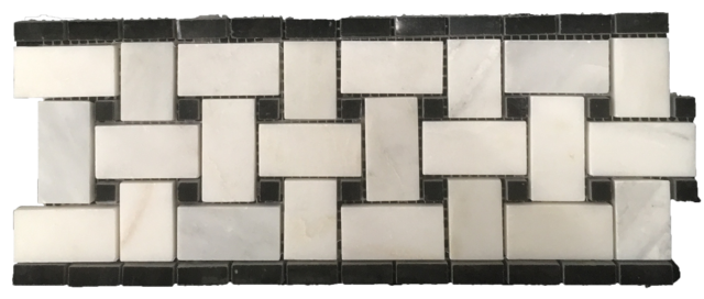 BIANCO CARRARA BASKETWEAVE BORDER