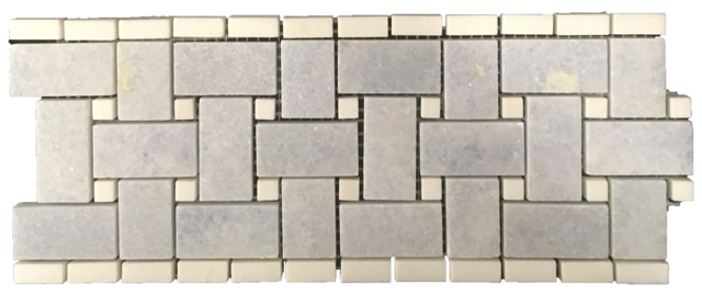 "BLUE CELESTE BASKETWEAVE BORDER/CORNER WITH 3/8"" WHITE THASSOS DOT POLISHED"