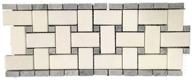 WHITE THASSOS BASKETWEAVE BORDER/CORNER WITH 3/8""