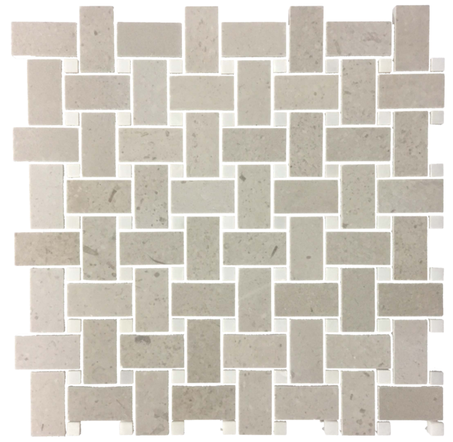 SAND DOLLAR BASKETWEAVE WITH WHITE ABSOLUTE MOSAIC POLISHED