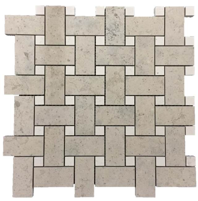 "QUARTIER PARISIEN BASKETWEAVE WITH 5/8"" VAGUE DE FLEURS DOT MOSAIC"