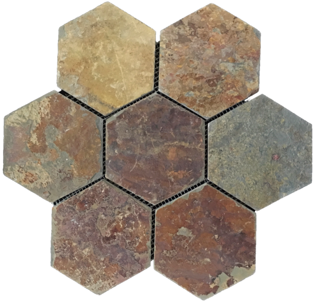 "RUSTIC MULTICOLOR SLATE 5"" HEXAGON MOSAIC"