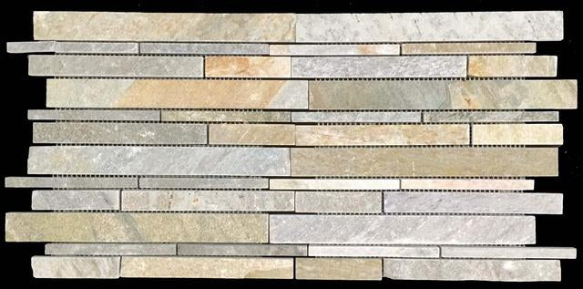 GOLDEN SAND QUARTZITE RANDOM STRIP MOSAIC CLEFT