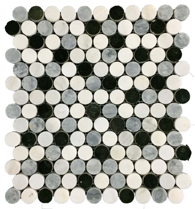 "TRI-BLEND PEARL WHITE/PACIFIC GRAY/BLACK 1"" ROUNDS MOSAIC"