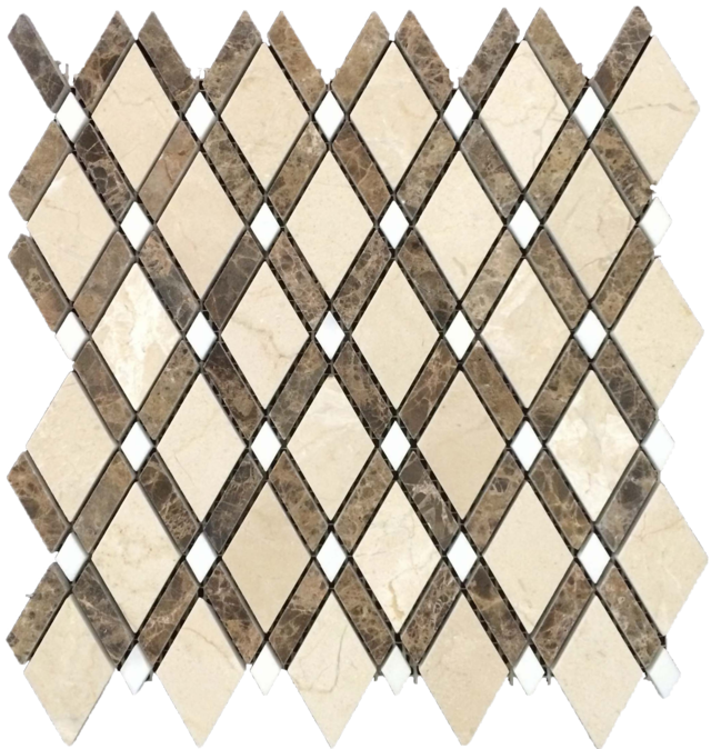 CREMA MARFIL LATTICE WITH DARK EMPERADOR MOSAIC