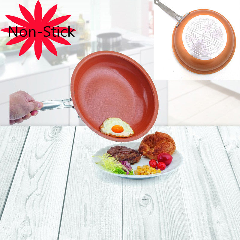 Non-stick Skillet Copper Red Pan Ceramic Induction Skillet Frying Pan Saucepan Oven & Dishwasher Safe