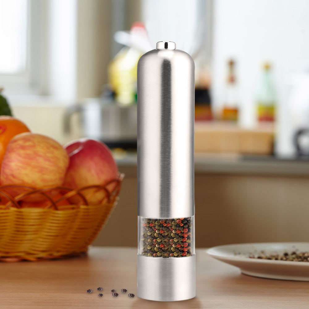 2 in 1 Electric Stainless Steel Pepper Mill Salt Spice Grinder Kitchen Tool