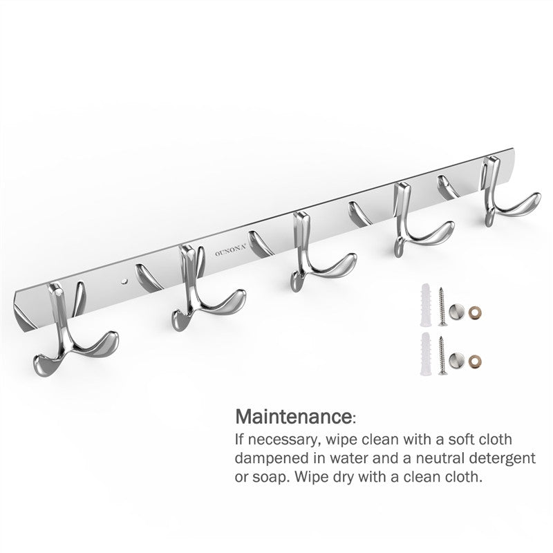 Stainless Steel Coat Rack with 5 Hanger Hooks