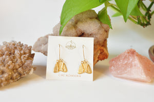 Brass Moth Earrings