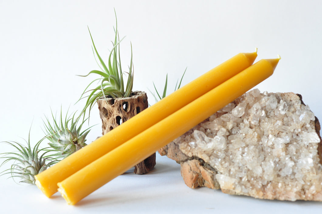 Rustic beeswax tapers