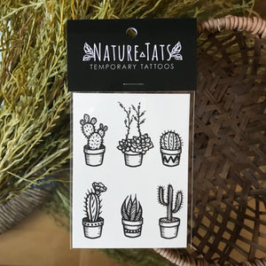 Potted cactus temporary tattoo