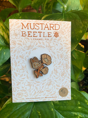 Mustard Beetle moth flower pin