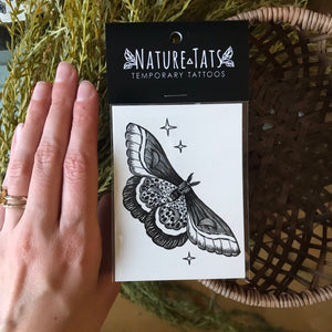 Night moth temporary tattoo