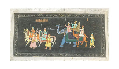 One of a Kind Antique hand painted on Silk Paper, Mughal Painting, Indian Painting 20 inches in Length 10 Inches in Height, Painting over 20 years old