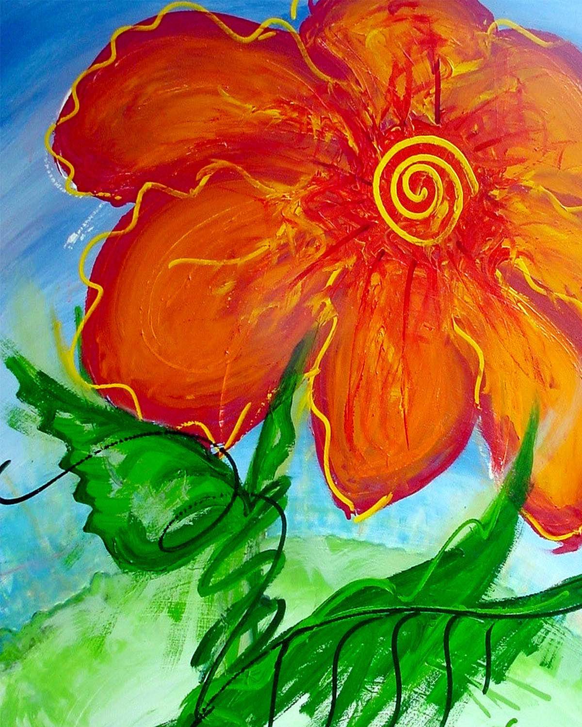 Passion, Original Abstract Flower Art Painting by Lisa Marie Jones