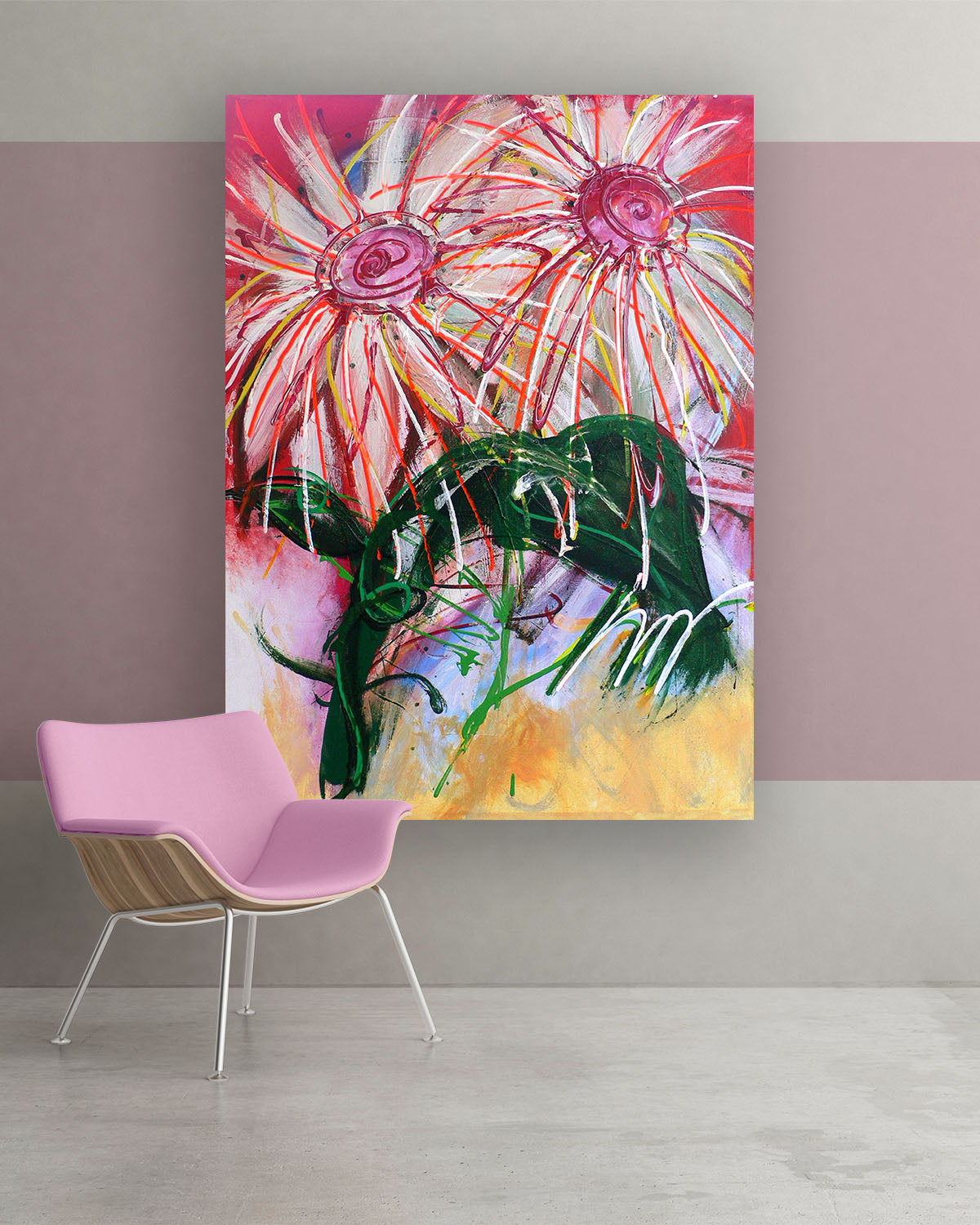 Candi, Original Abstract Flower Art Painting by Lisa Marie Jones
