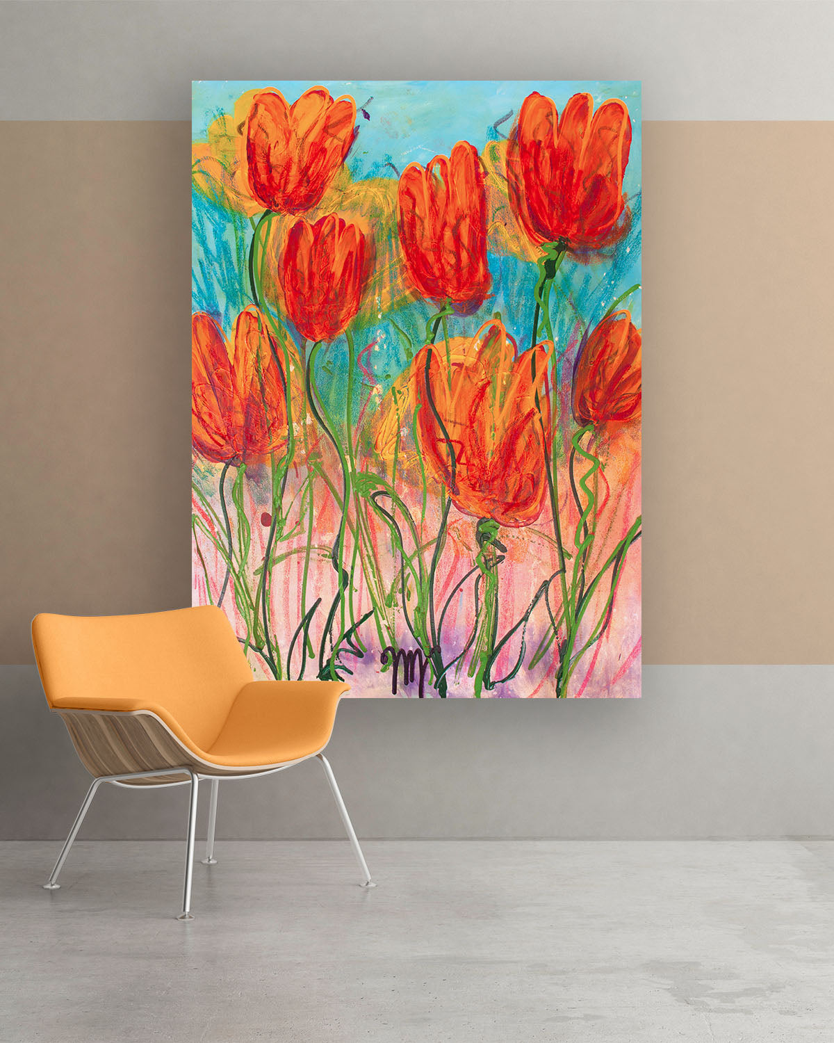 Lily, Original Abstract Flower Art Painting by Lisa Marie Jones