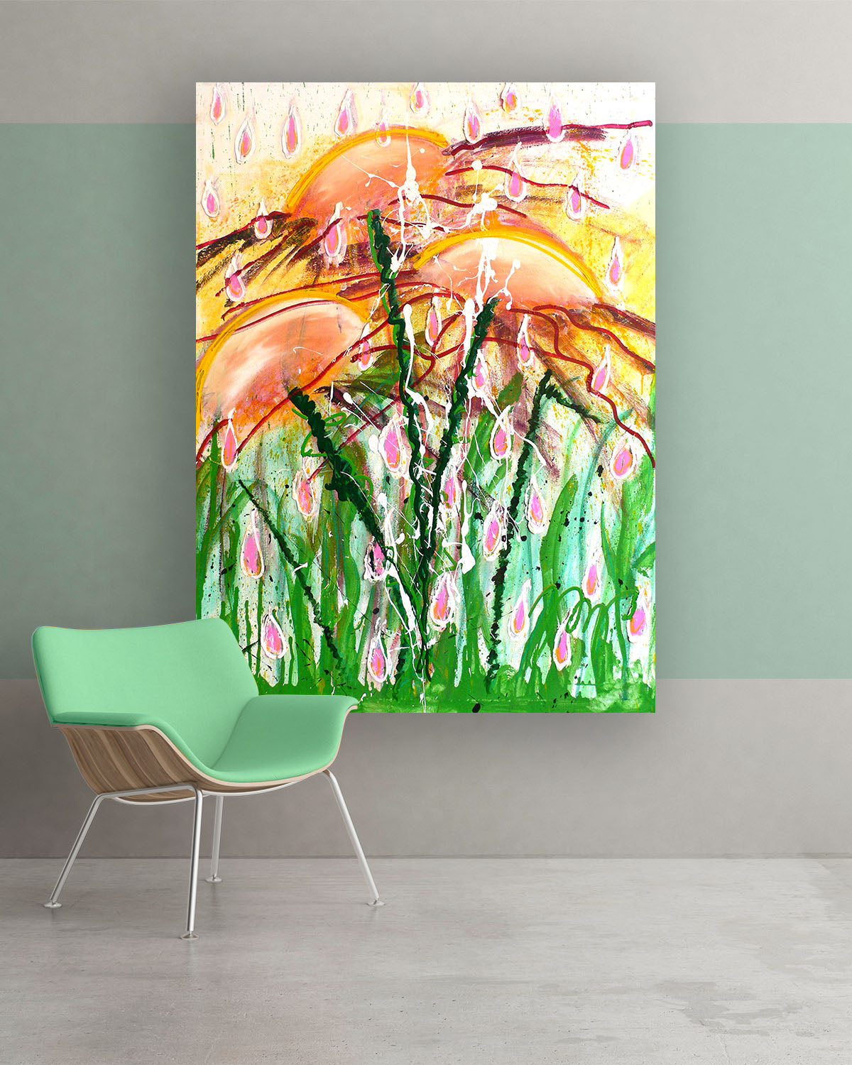 Love Drops, Original Abstract Flower Art Painting by Lisa Marie Jones