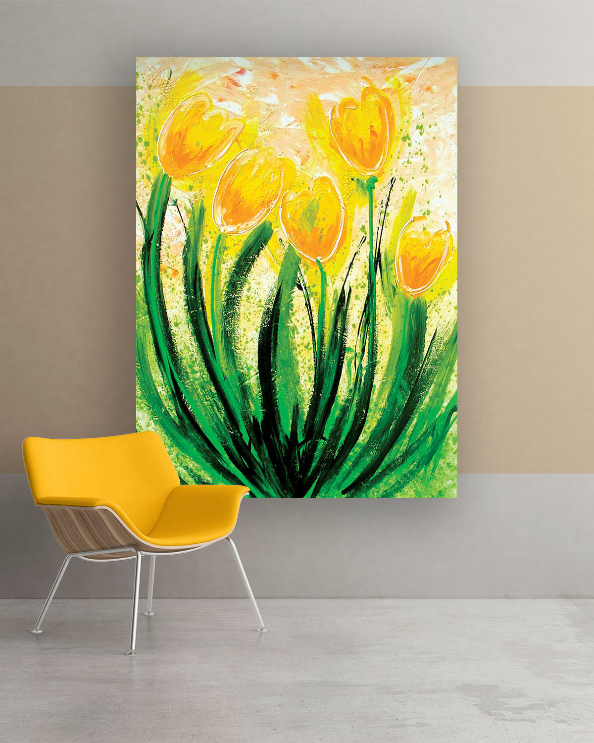 Buttercup, Original Abstract Flower Art Painting by Lisa Marie Jones