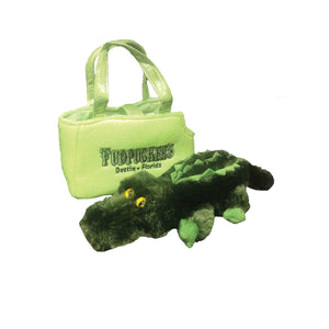 Stuffed Gator in a Pet Carrier