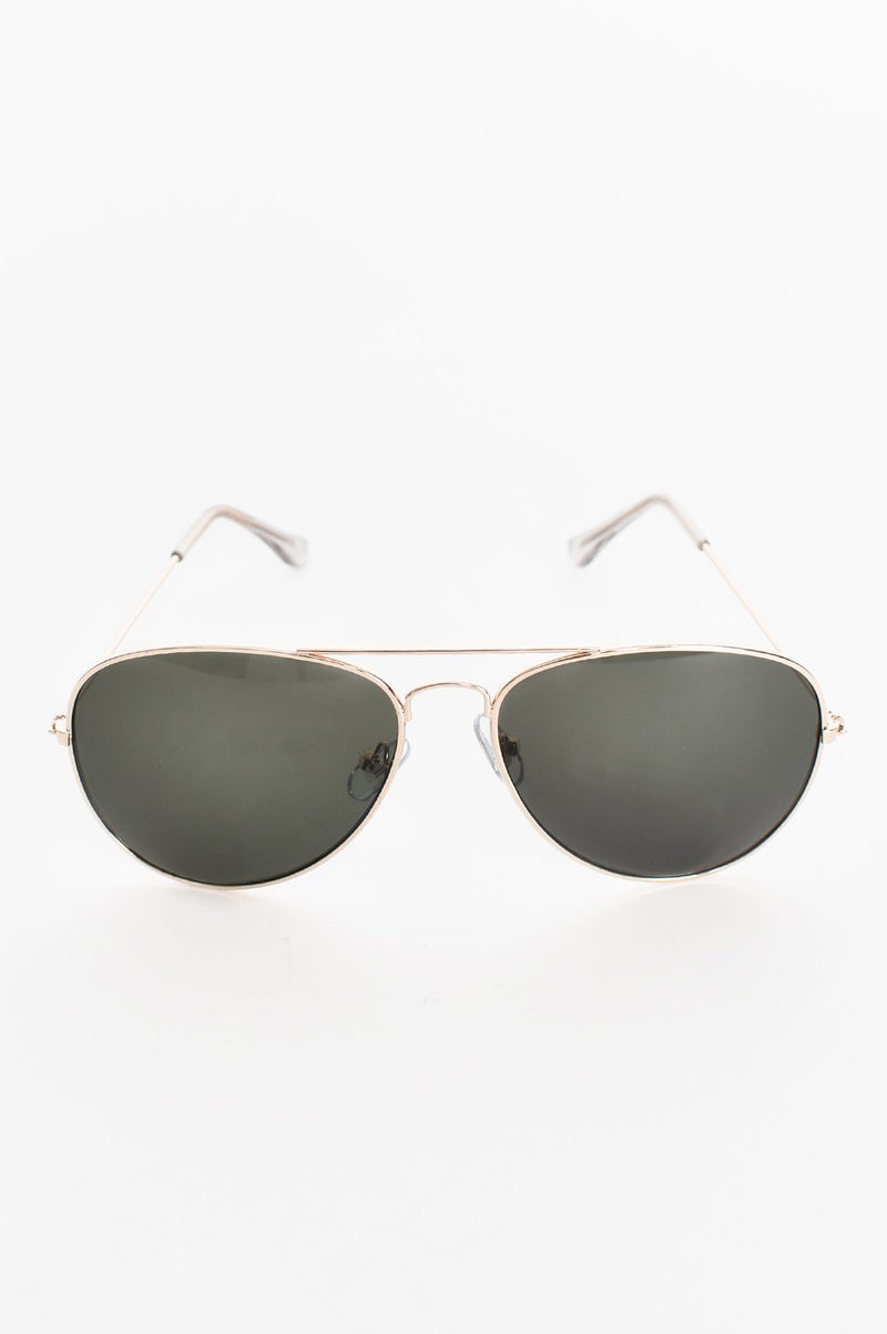 Gold Basic Aviator Sunglasses