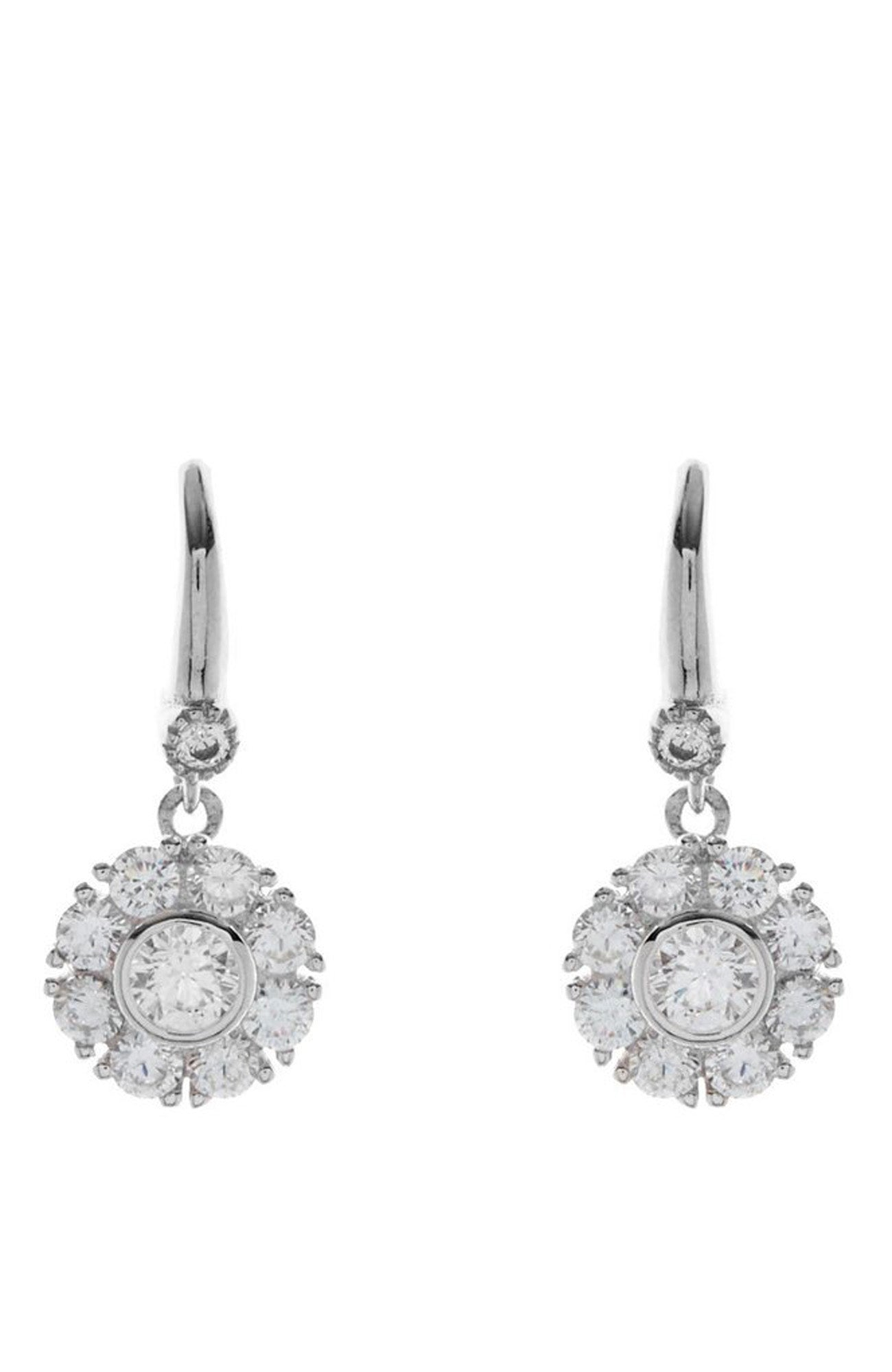 SILVER CUBIC ZIRCONIA FLOWER EARRINGS ON HOOK