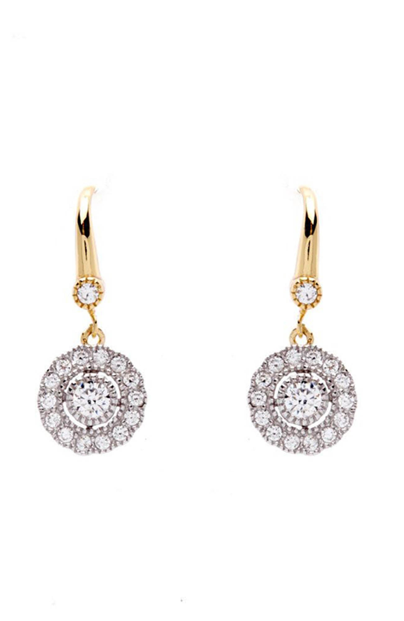Rhodium Plated Gold Flower Earrings on French Hook