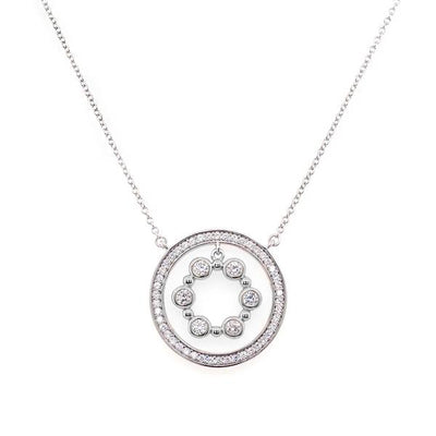 CIRCLE CZ PENDANT ON FINE CHAIN