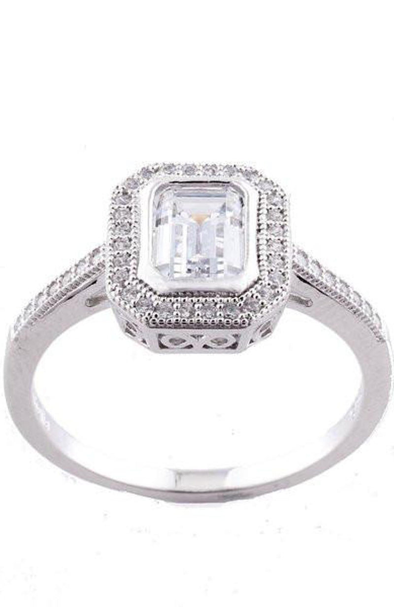 Rhodium Micro Pave CZ Rectangle Dress Ring