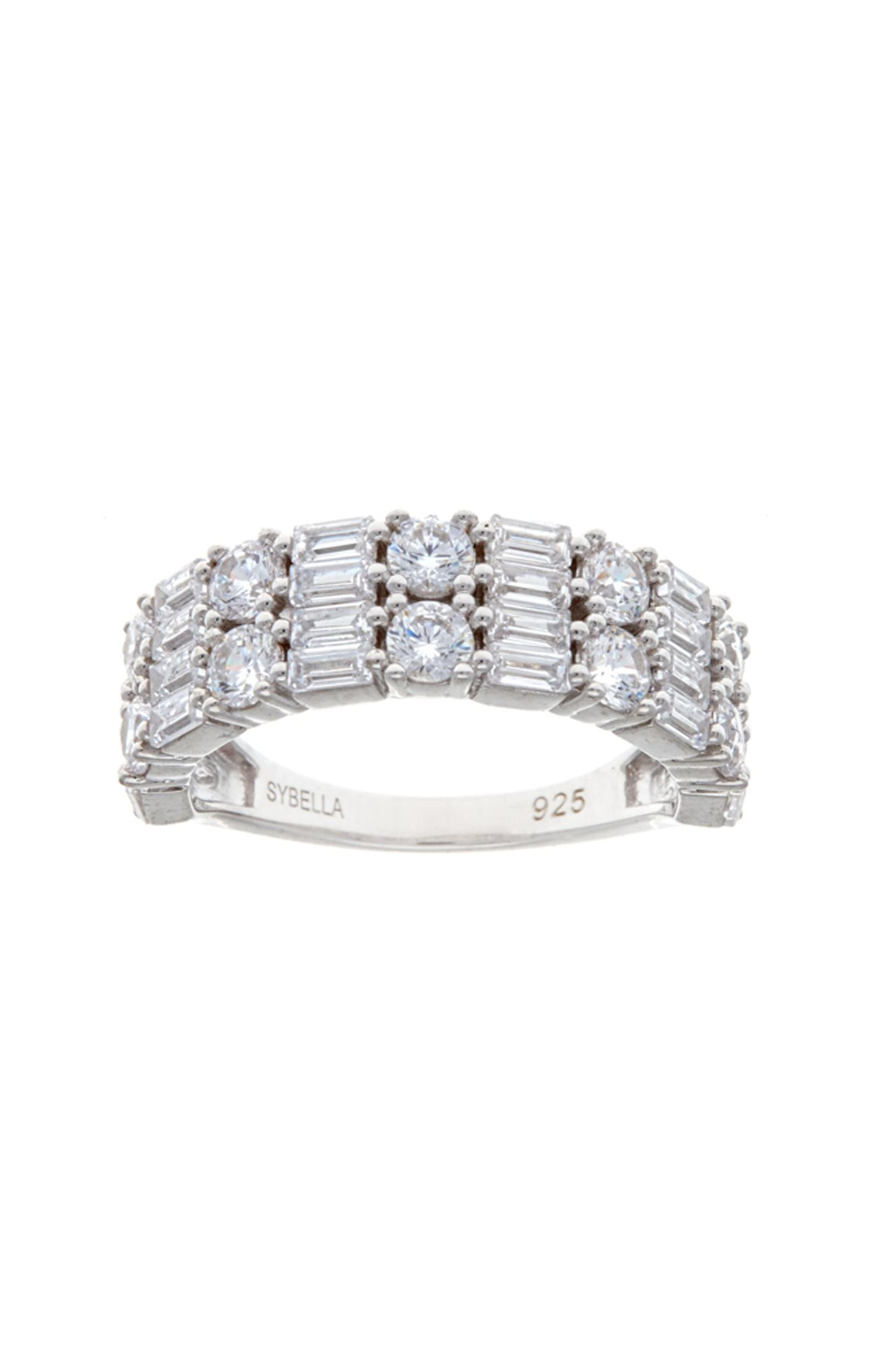 Rhodium Baguette & cz Double Row Ring