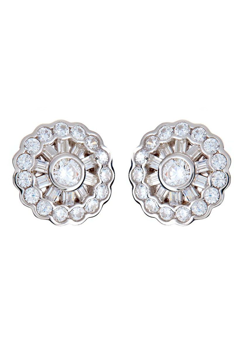 Rhodium cz Earrings
