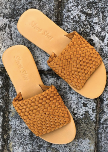 Leather Weave Slide