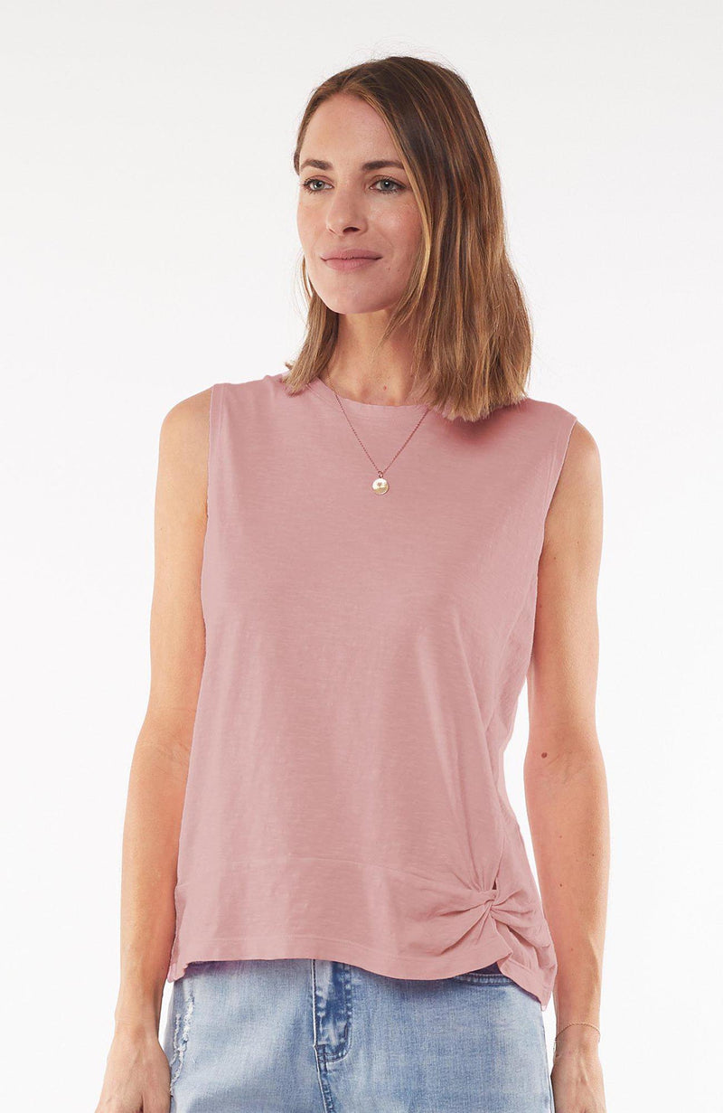 Knot Front Crop Tank - Foxwood