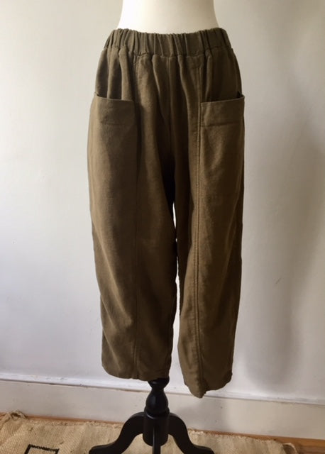 Front Pockets Cropped 2 buggy trousers-Khaki, Trousers, WondrousTheatre, WondrousTheatre,