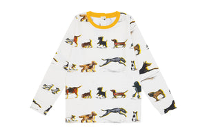 Dog family print LS Shirts organic cotton by vild -Yellow-, Children clothes, Vild, WondrousTheatre,