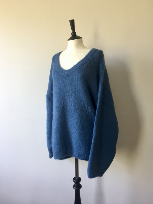 Fluffy Super Oversized Sweater-Ocean, knit wear, WondrousTheatre, WondrousTheatre,
