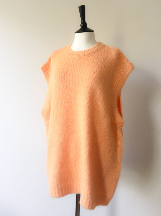 Fluffy Super Oversized Vest -Coral, knit wear, WondrousTheatre, WondrousTheatre,