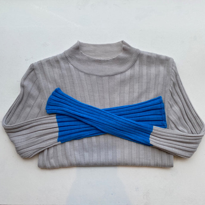 2tone rib knit -Grey/Blue-