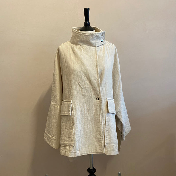 High Neck  Snap Button Jacket -Ivory-