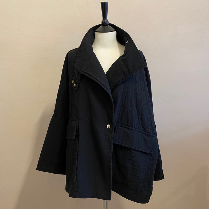 High neck snap button Jackets -Black-