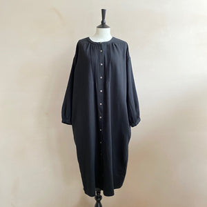 Pleated Front Oversized Shirt Dress  -Black-