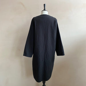 Cotton Open long coat -Black-