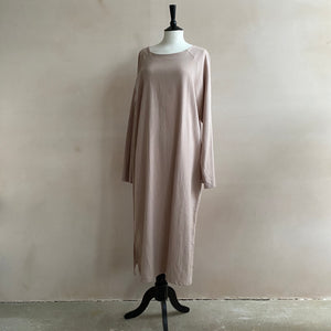 Cotton Twill Long Dress -Pink-