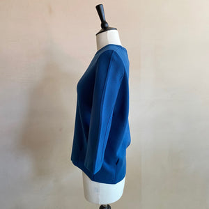 Puff sleeve Quoter sleeve top -Blue-